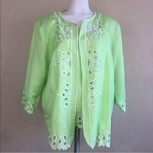 Bob Mackie Light Green Embroidery Shirt Jacket Set